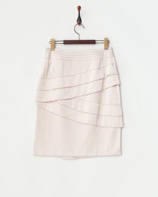 ピンク  ニクシィーサテンティアードデザインスカート見る