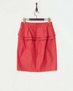 レッド フィルムグログランバックダブルペプラムタイトスカート見る