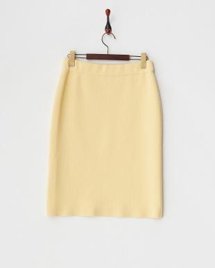 イエロー キルティングニットタイトスカート見る