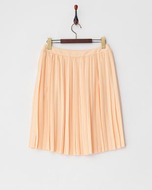 オレンジ パウダージョーゼットプリーツスカート見る