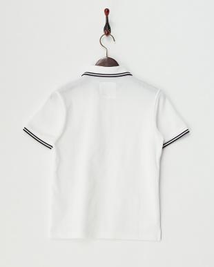 ホワイト  ダブルライン入りポロシャツ見る