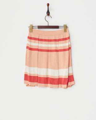 ピンク マルチボーダーニットスカート見る