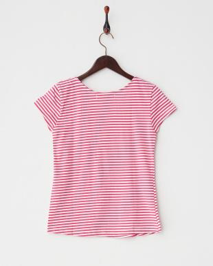 ローズピンク ビジューボーダーTシャツ見る