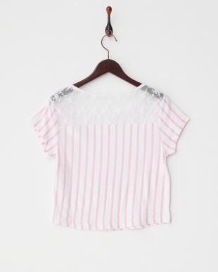 ピンク  ストライプレースTシャツ見る