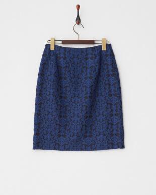 ブルー ウールフクレジャカードスカート見る
