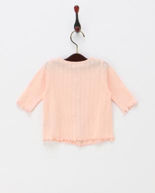 ピンク  透かし編み7分袖カーディガン見る