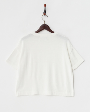 white  ポケット付き コットン混半袖ニット見る