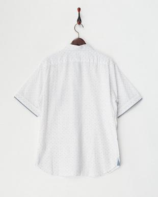 ホワイト  ドビー 生地切り替え 半袖シャツ見る