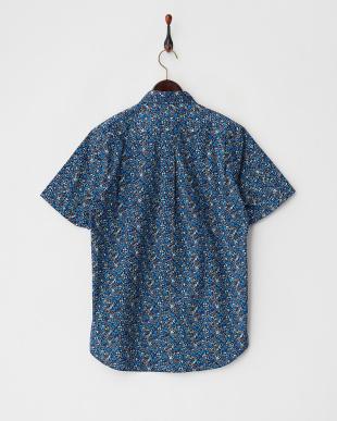 ネイビー  小花柄 ボタンダウン半袖シャツ見る