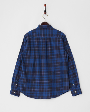ブルー系  チェックボタンダウンネルシャツ見る