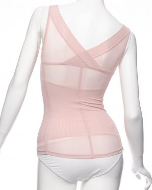 ピンク  着やせはんもっくセパレートブラキャミ見る