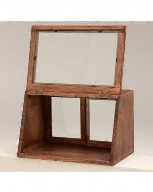 ブラウン カウンター上ガラスケース 40×25×25cm見る