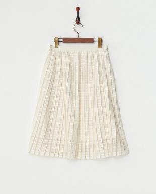 アイボリー  レーシーチェックプリーツスカート見る
