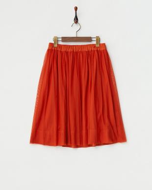 オレンジ  フェイクスエードリバーシブルスカート見る