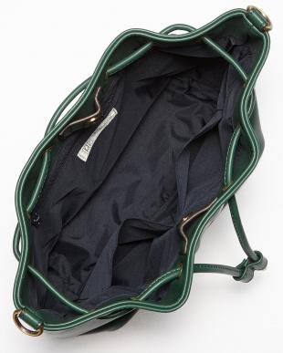 グリーン  フェイクレザー巾着バッグ見る