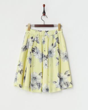 イエロー オリジナルリゾートフラワー柄スカート見る