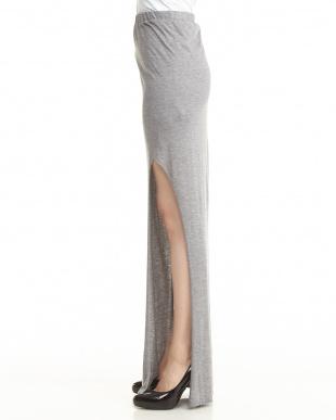 grey  KINETIC ジャージー フィットスリットスカート見る