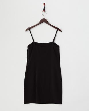 black ストレッチビスコース ストラップドレス見る