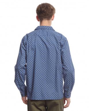 ブルー  ドット小紋オープンカラーシャツ見る