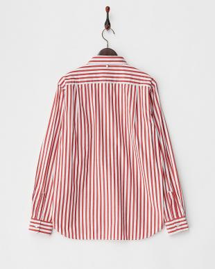レッド ロンドンストライプ隠しボタンダウンシャツ見る