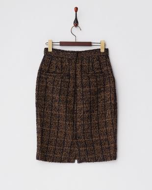 マスタード  チェック ウールツイードスカート見る