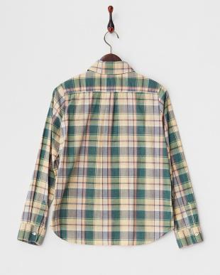グリーン  TOPS 胸ポケットチェックシャツ見る