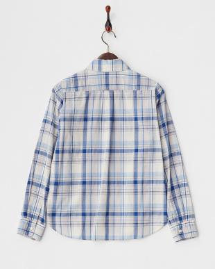 ブルー  TOPS 胸ポケットチェックシャツ見る