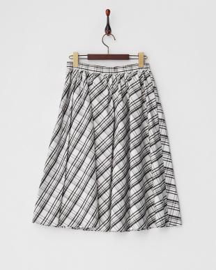 ホワイト チェックギャザースカート見る