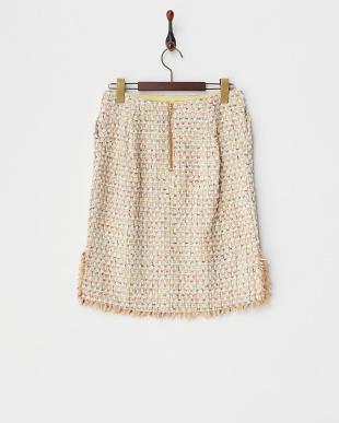 ベージュ  ジュエリーツィードスカート見る