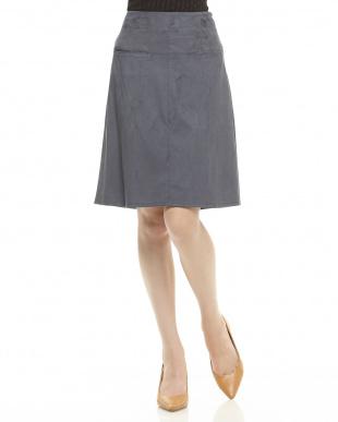 ナイトブルー  フェイクスウェード台形スカート見る