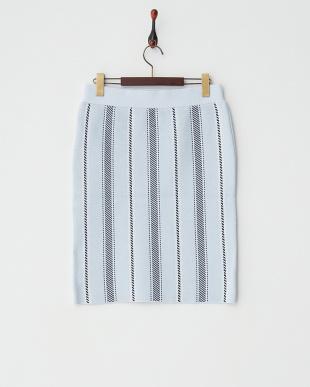 LBLU  ストライプタイトスカート見る
