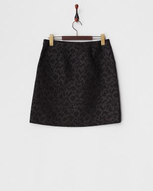 ブラック  レオパードジャガード台形スカート見る