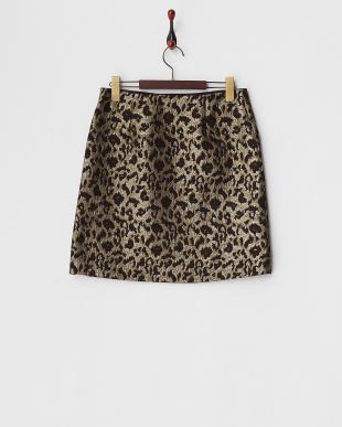 ブラウン  レオパードジャガード台形スカート見る