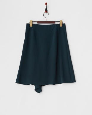グリーン  プレーンジョーゼット変型フレアスカート見る