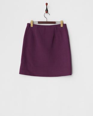 パープル 綿混リップルジャージー台形スカート見る