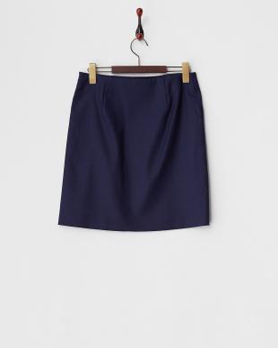 ブルー  ウールダブルクロス台形スカート見る