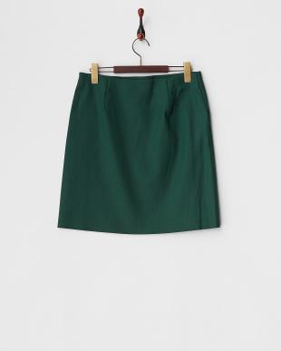 グリーン  ウールダブルクロス台形スカート見る