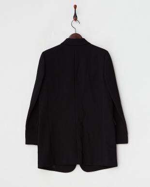 ブラック ウール二重織ロングテーラードジャケット見る