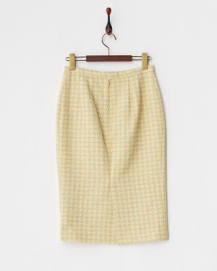 イエロー ジャガードミッドカーフ丈スカート見る