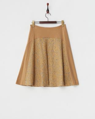 ベージュ ニット+レース切り替えスカート見る