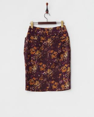 オレンジ系  フラワー タイトスカート見る
