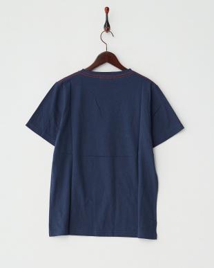 ネイビー  クルーネック無地Tシャツ見る