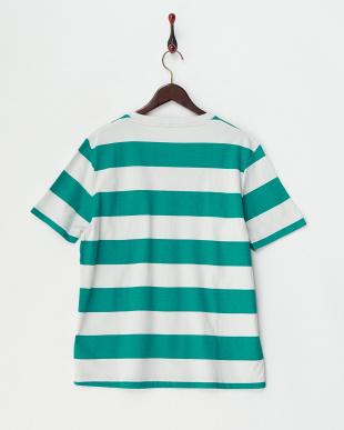 グリーン  ワイドボーダー半袖Tシャツ見る