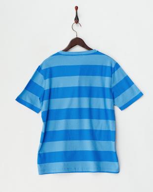ブルー  ワイドボーダー半袖Tシャツ見る