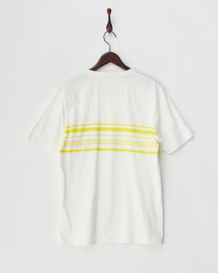 イエロー  布帛ポケ付パネルボーダー半袖Tシャツ見る