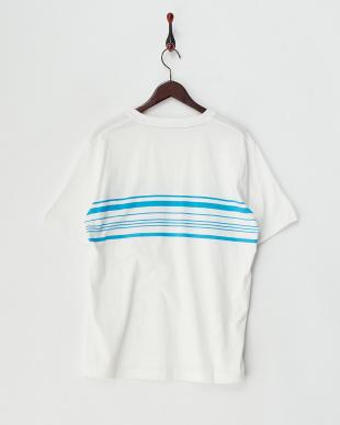 ブルー  布帛ポケ付パネルボーダー半袖Tシャツ見る