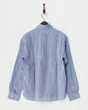 ブルー  リネンコットンボタンダウンシャツ見る