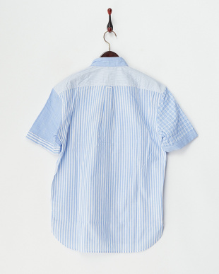 ブルー  切り替えクレイジー ボタンダウンシャツ見る