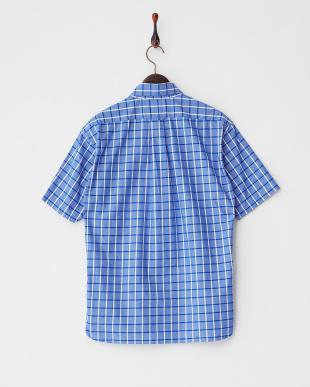 ブルー  ウィンドウペンチェック ピマコットン半袖シャツ見る