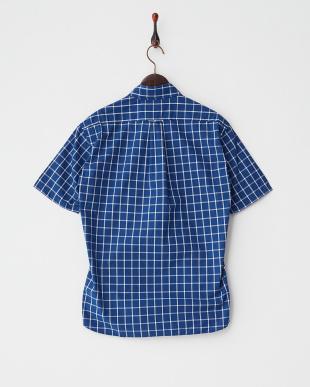 ネイビー  ウィンドウペンチェック ピマコットン半袖シャツ見る